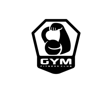 Gym, kettlebell and biceps  design. Bodybuilding and fitness, vector design and illustration