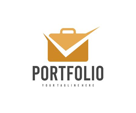 Portfolio and check mark, briefcase, bag and suitcase  design. Business, accounting and finance, vector design and illustration