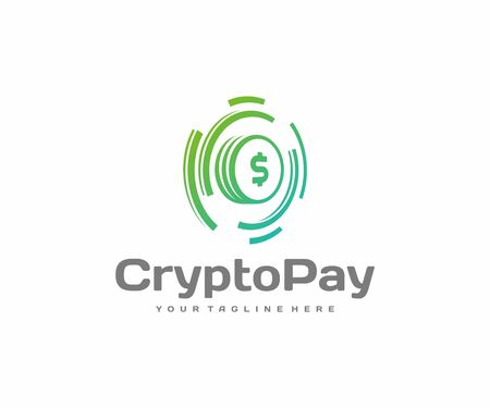 Financial technology or fintech  design. Cryptocurrency exchange and digital coin mining vector design. Virtual money logotype Standard-Bild - 149047397