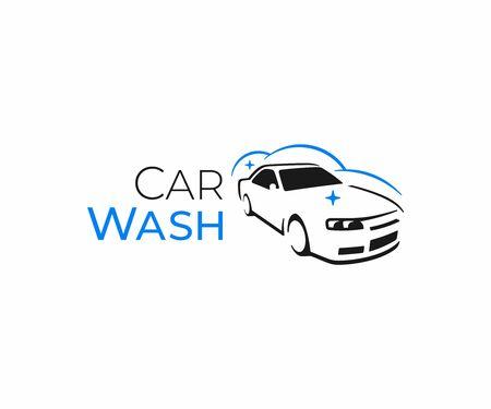 Car washing service logo design. Auto detailing vector design. Car wax logotype