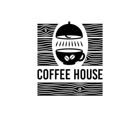 Coffee house, cup, ceiling light and vintage wooden boards  design. Drink, drinking, cafeteria, bistro and restaurant, vector design and illustration