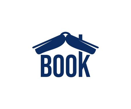 Book like a roof, bookshop and bookstore  design. Reading, education and training, vector design and illustration