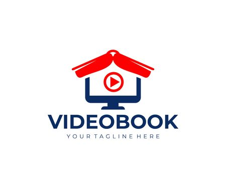 Videobook, book like a roof and computer monitor design. Online education, video training and video lessons, vector design and illustration