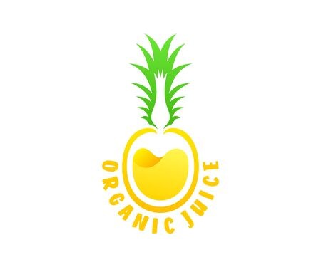 Organic juice, pineapple with juice inside design. Fruit, food and drink, vector design and illustration Иллюстрация