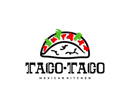 Mexican taco and carnitas, food, logo design. Restaurant, catering, food truck and street food, vector design and illustration Иллюстрация