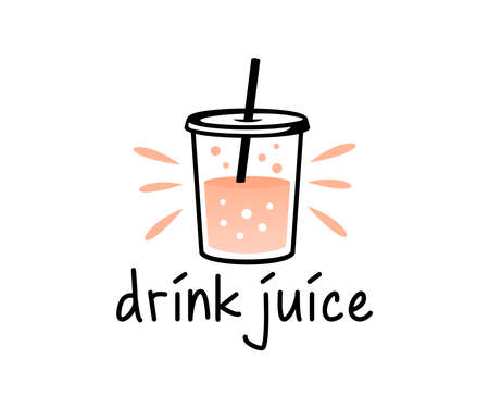 Drink, juice, beverage and fruit juice design. Food, smoothie, cafe and cafeteria, vector design and illustration  イラスト・ベクター素材