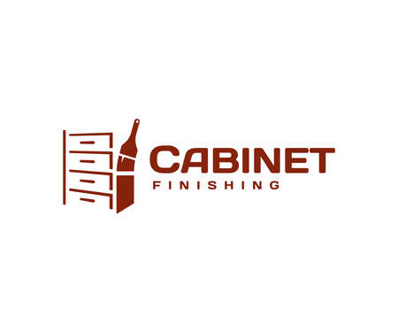 Cabinet finishing and refinishing logo design. Varnishing furniture vector design. Wood stain logotype Illustration