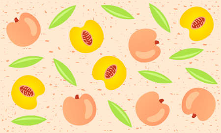 Peaches seamless pattern for packaging and background. Whole and sliced peaches with leaves, fruit shabby background. Food, vector design and illustration