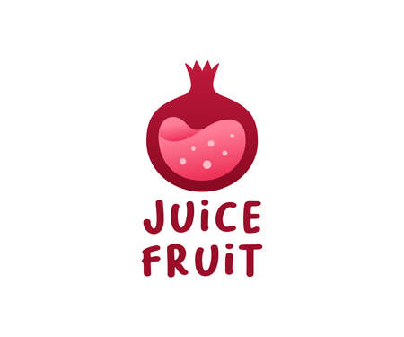 Pomegranate fruit with juice inside, logo design. Fruit, food and drink, vector design and illustration
