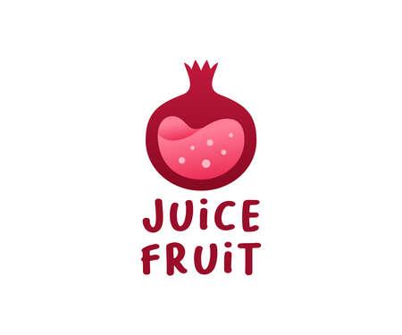 Pomegranate fruit with juice inside, logo design. Fruit, food and drink, vector design and illustration
