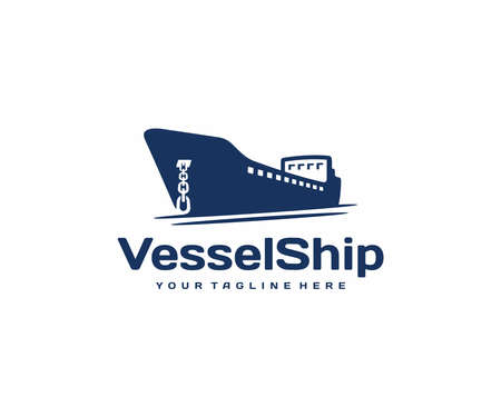 Container vessel with anchor logo design. Tanker cargo ship vector design. Maritime transport logotype
