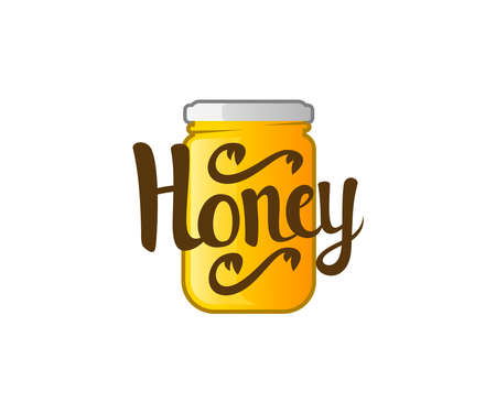 Honey in a glass jar, beekeeping and apiculture, logo design. Organic food, jar label and apiary, vector design and illustration