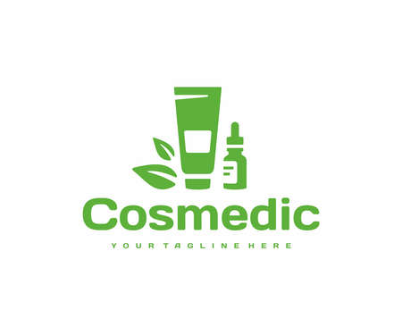 Natural cosmetic cream logo design. Natural organic beauty product vector design. Cosmetics with herbal ingredients logotype Illustration