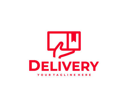 Parcel from delivery service courier logo design. Carton package with hand vector design. Deliveryman logotype