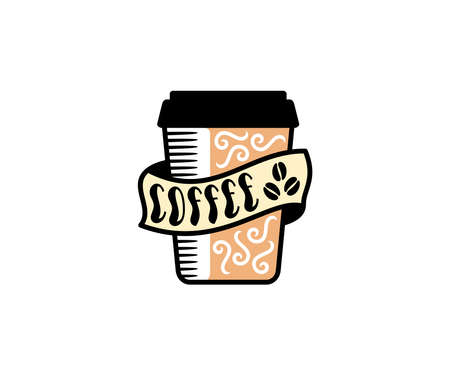 Coffee cup, drink, coffee house and cafe, design. Food, cafeteria, bistro and breakfast, vector design and illustration Ilustracja