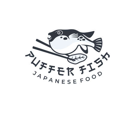 Puffer fish and chopsticks, japanese food, design. Fish, animal, food and restaurant, vector design and illustration Ilustracja