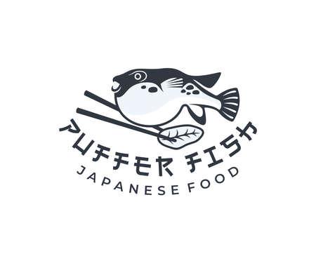 Puffer fish and chopsticks, japanese food, design. Fish, animal, food and restaurant, vector design and illustration Illustration