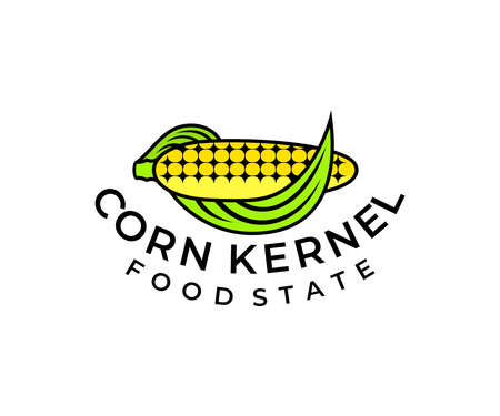 Ear of corn with leaves, logo design. Food, farming, plant and street food, vector design and illustration Иллюстрация