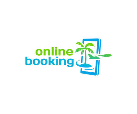 Online travel booking design. Flight ticket booking vector design. Summer holiday vacation with smartphone and plane