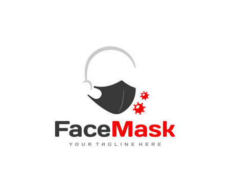 Face protection mask design. Human face with medical mask vector design. Ilustracja