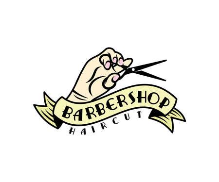 Barber shop or hairdresser shop, hand holds scissors design. Hair salon, hairdresser, hair style and fashion, vector design and illustration Ilustração