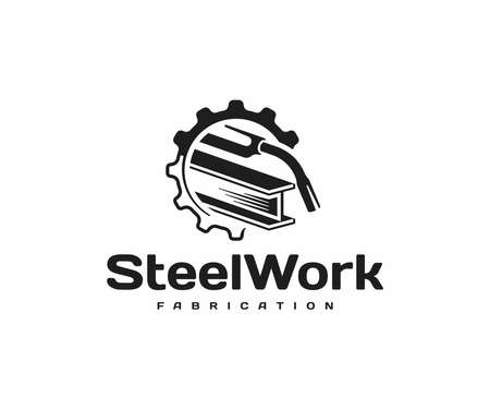 Steel fabrication design. Welding torch with steel beam in gear wheel vector design. Metal industry logotype