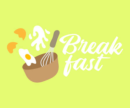 Omelette, eggs, milk, whisk and bowl design. Breakfast, food, catering and canteen, vector design and illustration