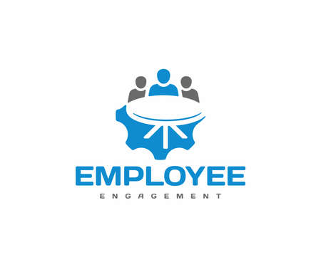 Employee engagement logo design. Business team meeting vector design. Human resource management logotype Ilustracja