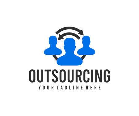 Outsourcing, recruitment business and hr strategy, logo design. Teamwork, distributed team, finance and financial, vector design and illustration Ilustracja