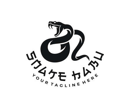 Snake habu, animal, reptile and poisonous predator, logo design. Okinawa habu, venomous pit viper and japanese animals, vector design and illustration 矢量图像
