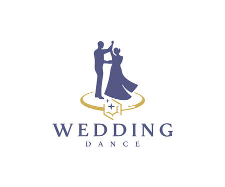 Wedding dance logo design. Bridal party vector design. Bride and groom with wedding ring logotype