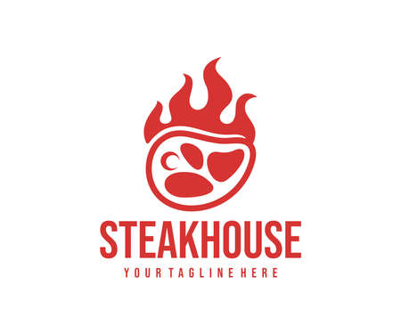 Steakhouse, steak with flame, design. Food, restaurant, meal and meat, vector design and illustration Illustration