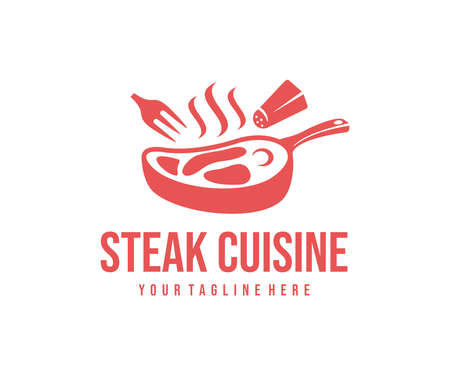 Cooking steak on pan, fork and salt cellar,  design. Food, restaurant, meal and meat, vector design and illustration