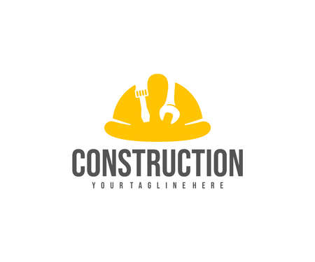 Construction, construction safety helmet, screwdriver and wrench  design. Contractor, builder and electrical, vector design and illustration Illustration