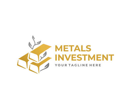 Precious metals investing  design. Gold bars and stock exchange vector design. Financial growth logotype