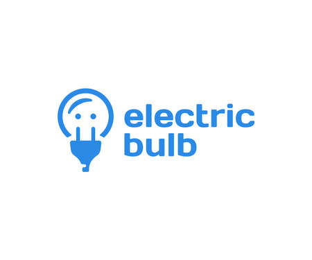Electric light bulb  design. Power socket and plug vector design. Creative idea and innovation logotype