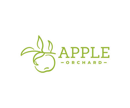 Apple orchard design. Apple hanging on a branch vector design. Apple fruit farm logotype Standard-Bild - 156741646