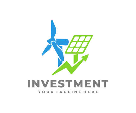 Investment in renewable energy, wind turbine and solar panels,   design. Electricity industry, electric power industry and energy industry, vector design and illustration
