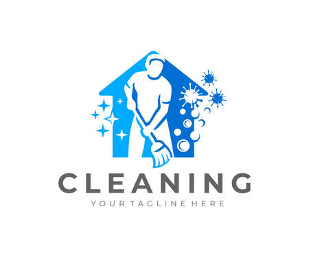 Man with broom, house cleaning and house cleanup service design. Sanitizing, disinfecting, virus, hygiene and cleanliness, vector design and illustration