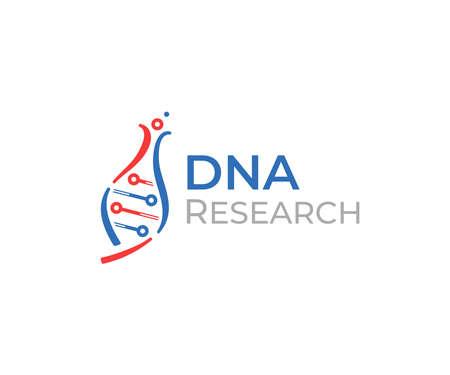 Scientific technology   design. Medical biochemistry laboratory vector design. Human DNA with lab flask logotype Standard-Bild - 157137962