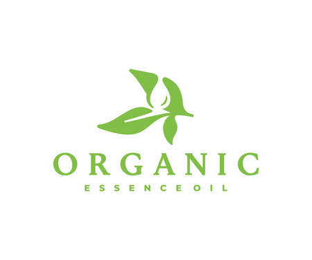 Herbal extracts  design. Essential oil falling from green leaf vector design. Alternative medicine logotype Illustration