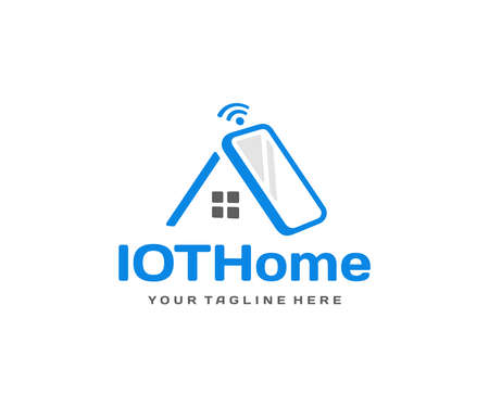 Home automation system   design. Smart home technology vector design. Mobile phone with roof of the house logotype