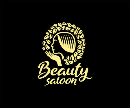 Woman face for beauty saloon logo design. 矢量图像