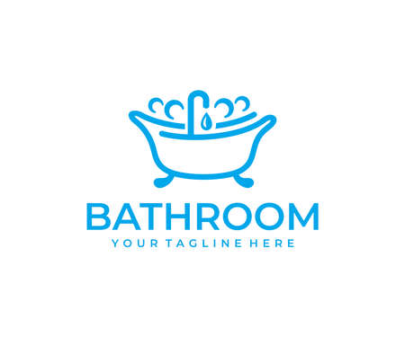 Bathtub logo design on white Ilustracja