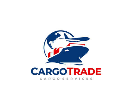 Global freight transportation logo design. International trade and logistic vector design. Sea and air cargo services logotype