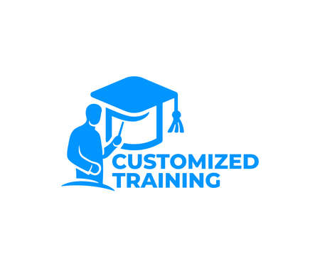 Customized training, teacher at the blackboard and doktorhut or bachelor cap,  design. Education, teach and learn, vector design and illustration Ilustracja