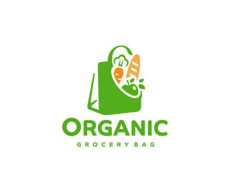 Grocery paper bag with food  design.  Reusable produce bag with healthy vegan vegetarian food vector design. Shopping in the supermarket