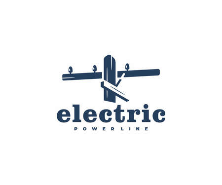 Electric wooden pole  design. Power line vector design. Power and energy Ilustração