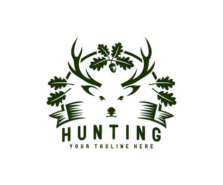 Hunting, hunt, deer with antler in oak foliage, logo design. Animal, wildlife, tree and leaves, vector design and illustration