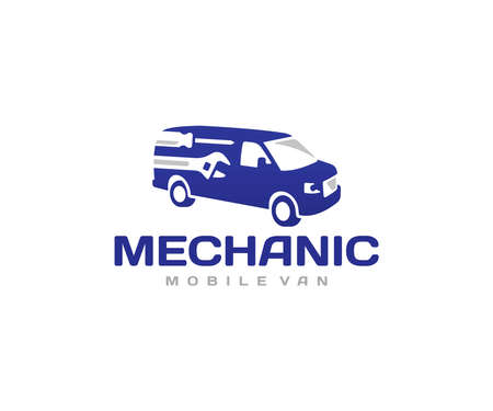 Mobile mechanic van logo design. Mechanic car service vector design. Workshop on wheels with tools logotype